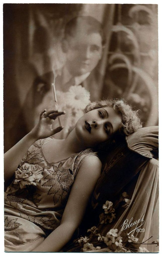 A woman with a cigarette and a ghostly lover watching her