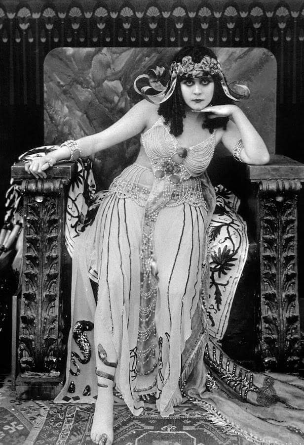Silent film actress Theda Bara is Cleopatra