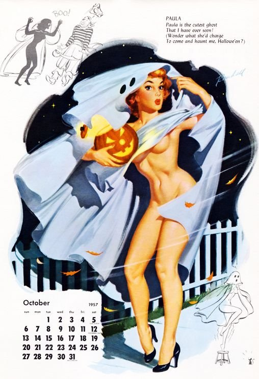 Vintage pinup calendar page with women in a ghost costume that's being blown away