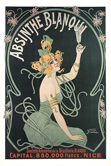 Art Nouveau style poster for Absinthe Blanqui
