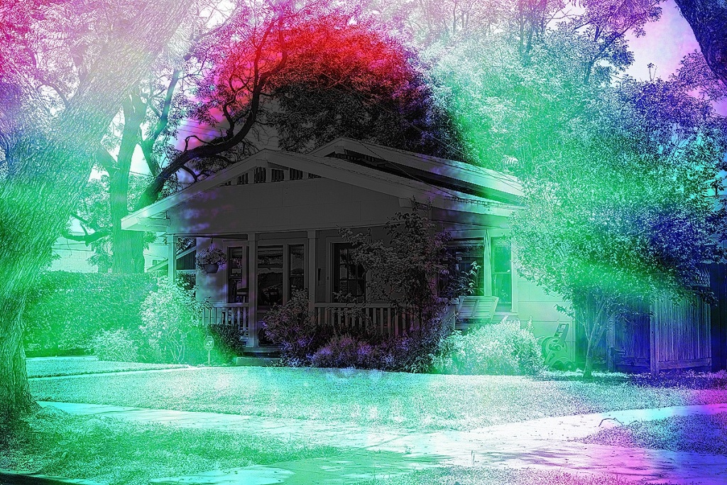 Craftsman style house overlaid with a kirilian, aura, photo.