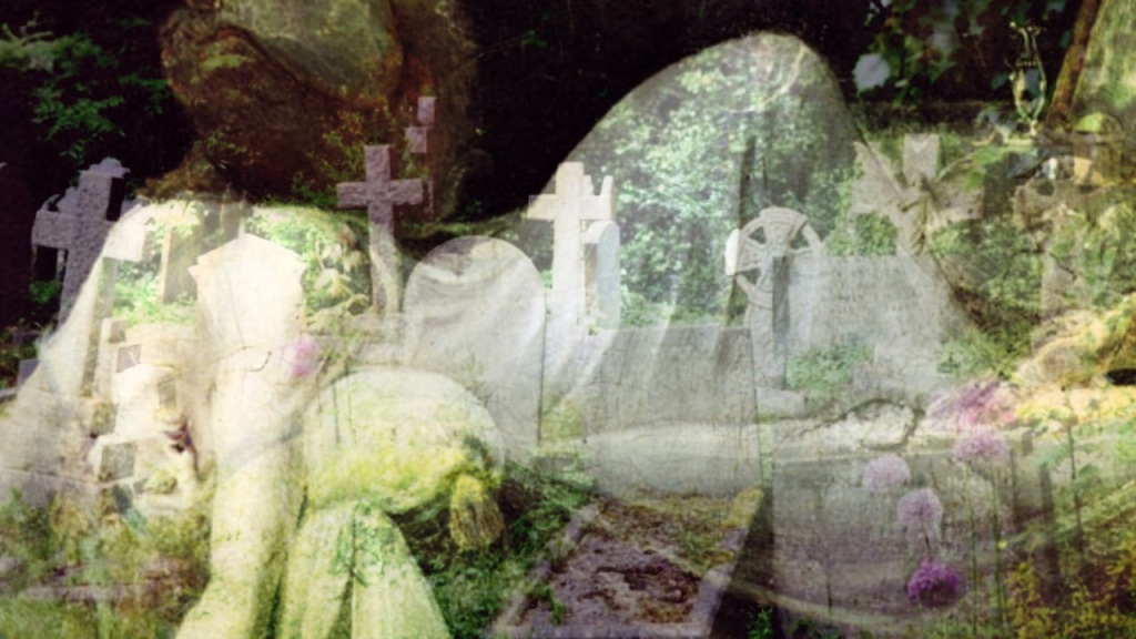 Woman being seduced by an incubus/lilu superimposed over a cemetery