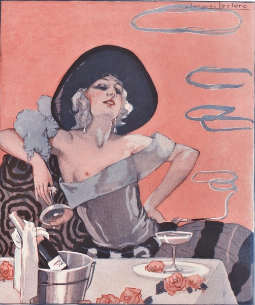 Art deco cartoon of a woman with one breast revealed and a glass of champagne.