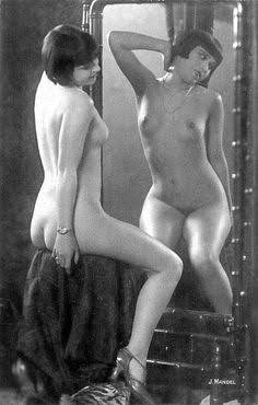 nude flapper in a mirror