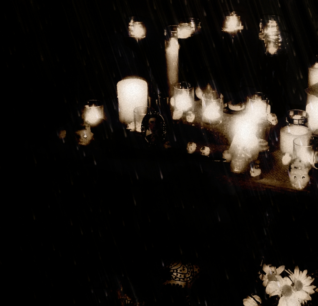 Black and white image of candles, skulls, and flowers in the rain