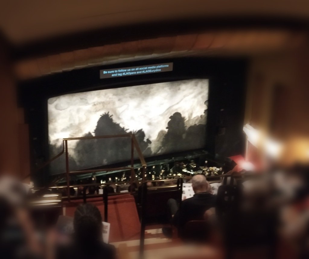 Curtain at the Dorothy Chandler Pavilion during the performance of Eurydice.