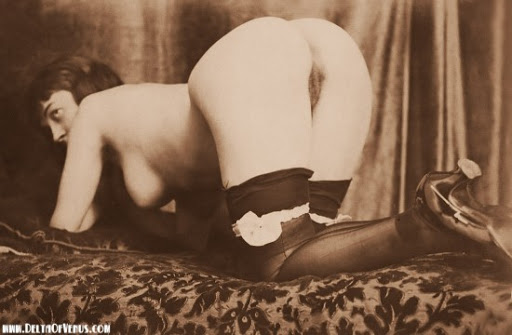 Nude flapper on hands and knees her ass facing the camera