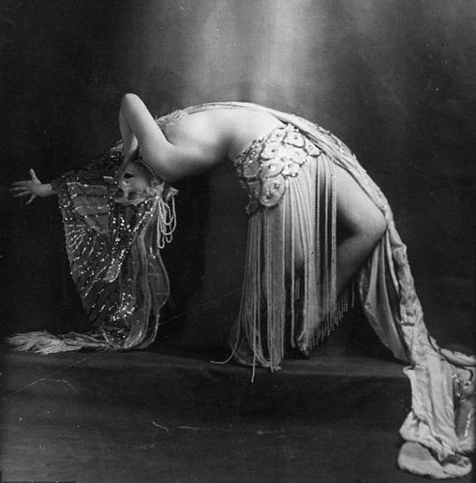 1920s burlesque dancer in a back bend