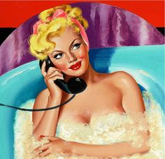 pinup girl in a bubble bath on the telephone