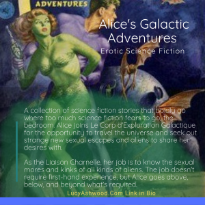 a pulp magazine cover with a scantily clad green alien woman with a man and bats in the background
