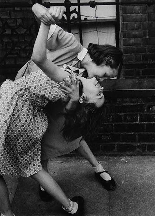 two light skinned women in the 1940s dancing